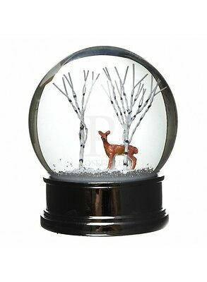 Heaven Sends Large Red Deer And Trees Water Ball Snow Globe
