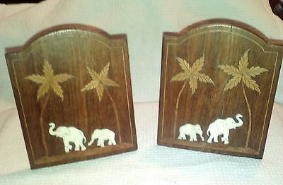 Bookends - beautifully inlaid wooden bookends