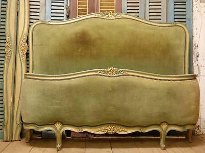 LOVELY ANTIQUE UPHOLSTERED DOUBLE FRENCH BED - Great Hand Painted Frame - dv24