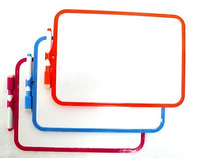 A4 MINI KIDS DRY WIPE WHITEBOARD PLASTIC FRAME DOUBLE SIDED (18.5x27.5cm)