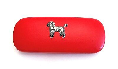 Poodle Pewter Motif On Red PU Glasses Case NEW Mother Father Poodle Dog Gift