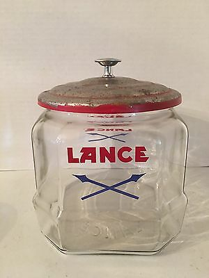 Vintage GLASS LANCE COUNTER TOP SMALL CRACKER JAR STORE DISPLAY ORIGINAL LID