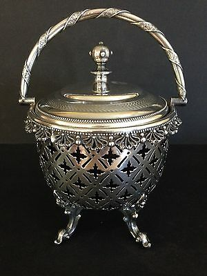 Wonderful Pierced Glass Lined Silver Plated Covered Basket