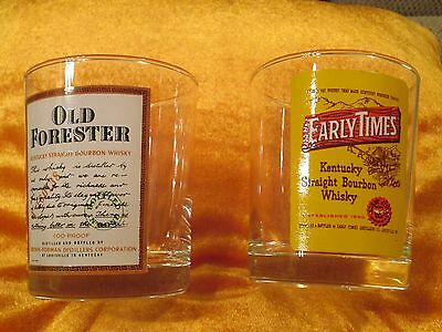 Two Vintage Kentucky Bourbon Sipping Glasses. Old Forester and Early Times