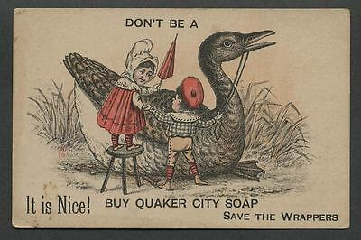 1880s-90s QUAKER CITY SOAP Don't be a Goose, Sheet Music Offer Trade Card