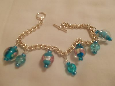 Beaded Charm Bracelet - in Blue Colours with a hint of Pink