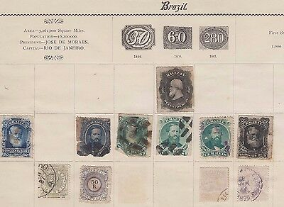 Ls143 Extremelyearly Stamps From Brazil1878 Onwards On Old Album Page