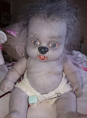 "OOAK Mini 9"" Grey Werewolf baby doll - RESALE !"