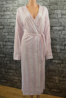 Womens Pretty Pink Striped Cotton Bathrobe Full Length Dressing Gown Size 34