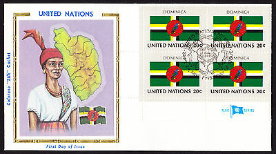 1982 UN United Nations Dominica National Bird Flag & Native / Map cachet cover