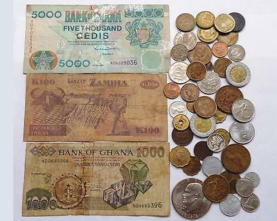 l@@K WORLD COINS WITH SILVER LOT OF 42 + 3  BANKNOTES.