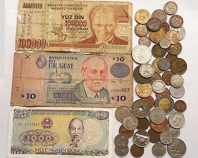 World Coins With Silver, Lot Of 50 + 3  Banknotes.