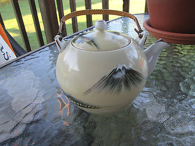 Vintage Japanese Ceramic Teapots Or Decor Bamboo Wrapped Metal Handle Japan