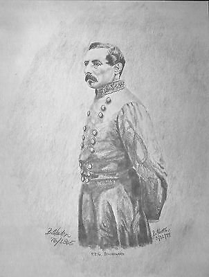 "Civil War History Art Pencil Sketch Bobby Horton S/N #76 PTG Beauregard 8""x10.5"""
