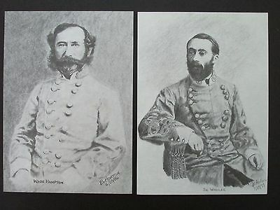 "2 Civil War Pencil Sketches by Bobby Horton #2046 W Hampton & J Wheeler 5""x7"""