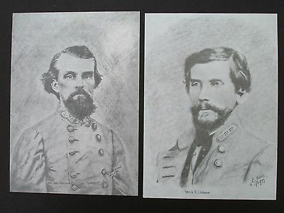 "2 Civil War Pencil Sketches by Bobby Horton #2030 N Forrest & P Cleburne 5""x7"""