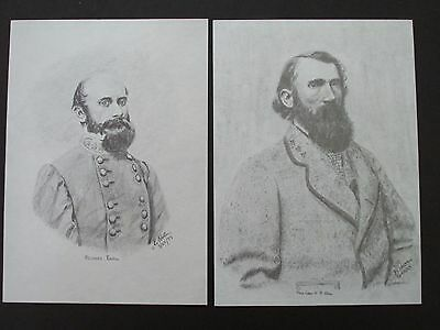 "2 Civil War Pencil Sketches by Bobby Horton #2034 R Ewell & A P Hill 5""x7"""