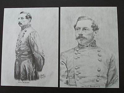 "2 Civil War Pencil Sketches by Bobby Horton #2038 P T G Beauregard 5""x7"""