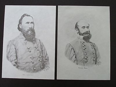 "2 Civil War Pencil Sketches by Bobby Horton #2036 J Longstreet & R Ewell 5""x7"""