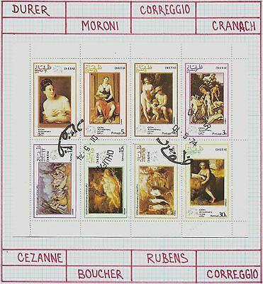 Dhufar ( State of Oman ) Sheet of 8 Paintings of Nude Women, CTO Trucial State