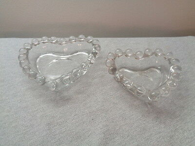 """2 Vintage Imperial """"Candlewick"""" Stacking Heart Ash Trays/ Nut Dishes"""