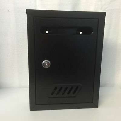 Black Lockable Wall-Mounted Letter Post Postbox letter box mail box mailbox