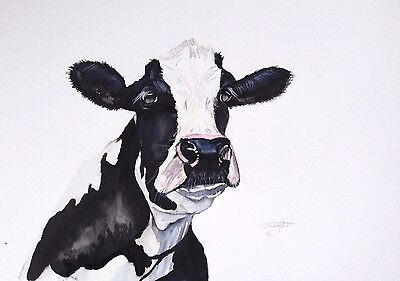 Christmas Original Watercolour Painting New Large Cow Abstract Modern A3