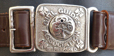 Vintage Girl Guide Be Prepared leather and metal belt made by Bukta