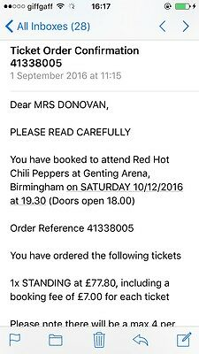 Red Hot Chili Peppers Ticket X1 Birmingham 10/12/16 Standing
