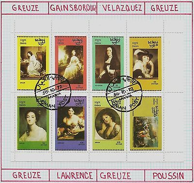 1972 ( State of Oman ) Sheet of 8 Paintings of Nude Women, CTO - Trucial State