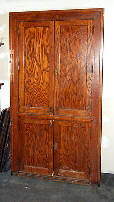 Antique Oak Schoolhouse Built-In Cabinet, Architectural Salvage, Bead Board