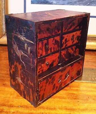 Antique Asian Japanese faux tortoiseshell gold lacquer table cabinet, Meiji