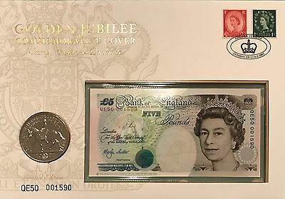 GB Golden Jubilee Cover 2002 with £5 Note & £5 Coin