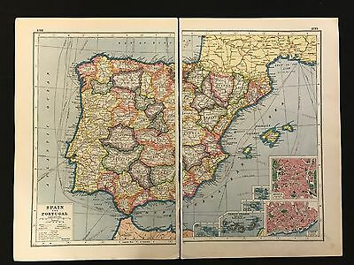 Vintage Map 1920, Spain & Portugal - Harmsworth's Atlas