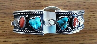 Ladies Navajo Sterling Silver Turqouise Coral Native American Watch band