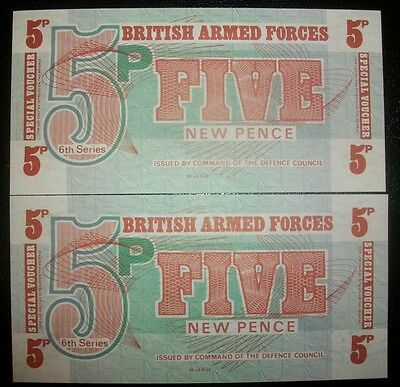 BRITISH ARMED FORCES 2x5 PENCE SERIES 6th  MINT UNC