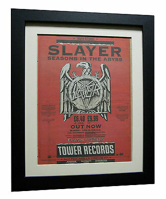 SLAYER+Seasons In The Abyss+POSTER+AD+RARE ORIGINAL 1990+FRAMED+FAST GLOBAL SHIP