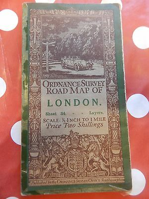 1914 Ordnance Survey Road Map of London 1/2 Inch to 1 Mile