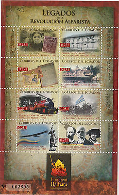 Ecuador 2012 Sheet Stamp On Stamp Train Locomitve Flag Bird Revolution Statue 15
