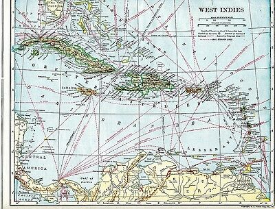 Vintage Map WEST INDIES,1922