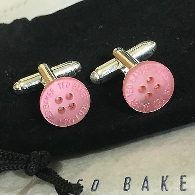 Mens Ted Baker Mother Of Pearl Rose Pink Button Silver Plated Cufflinks + Bag