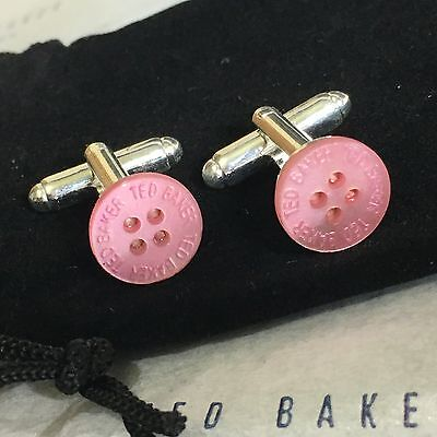 New Mens Ted Baker Mother Of Pearl Rose Pink Button Silver Plated Cufflinks Gift