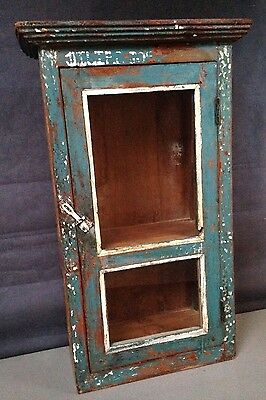 Tall Antique/vintage Indian Wooden Display/bathroom Cabinet. Art Deco,turquoise