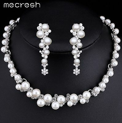 Simulated Pearl Bridal Jewelry Silver Plated Flower Choker Necklace Earrings Set