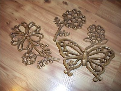 Vintage Home Interiors  Flowers & Butterfly Wall Decor Plaques Wood Look  1978