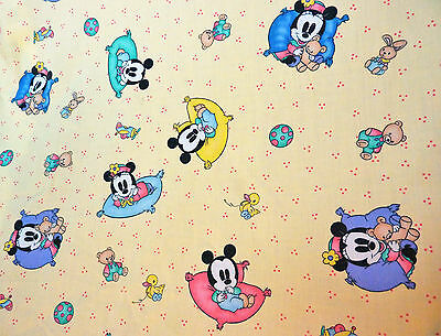 Vintage Baby Mickey Minnie Baby Crib Fitted Sheet Disney 1996 Made USA