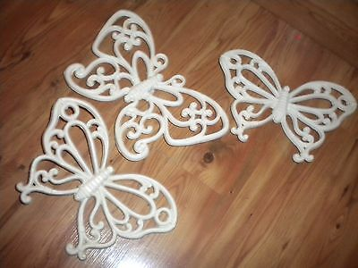 Home Interiors White Butterflies Wall Plaques Set of 3 Vintage HOMCO