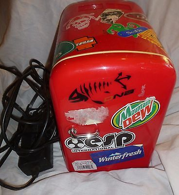 Red MINI REFRIGERATOR HOLDS 6 PACK, Good Working Condition w/ Stickers All Over