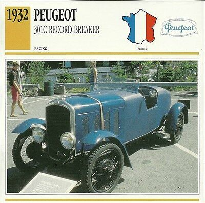 CLASSIC Cars Fact & photo reprint picture card PEUGEOT 301C Record Breaker