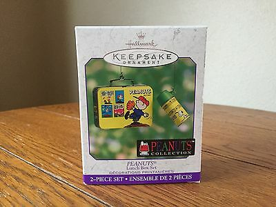 Hallmark 2000 Peanuts Lunch Box Thermos Charlie Brown Snoopy Ornament